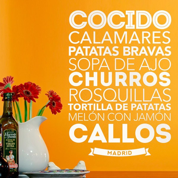 Wall Stickers: Gastronomy in Madrid