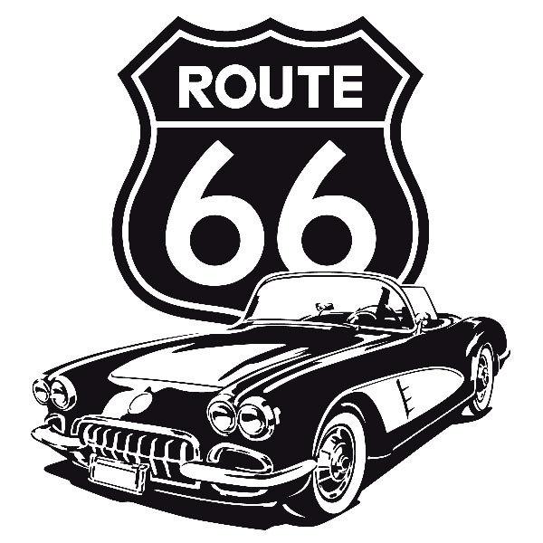 Wall Sticker Corvette Route 66 Muraldecal Com