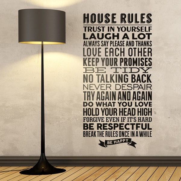 wall stickers house rules customisable house rules wall sticker vinyl impression