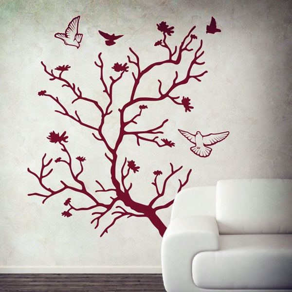 Wall Stickers: Tree and pigeons