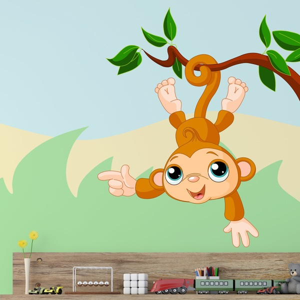 Stickers for Kids: Monkey hanging from branch