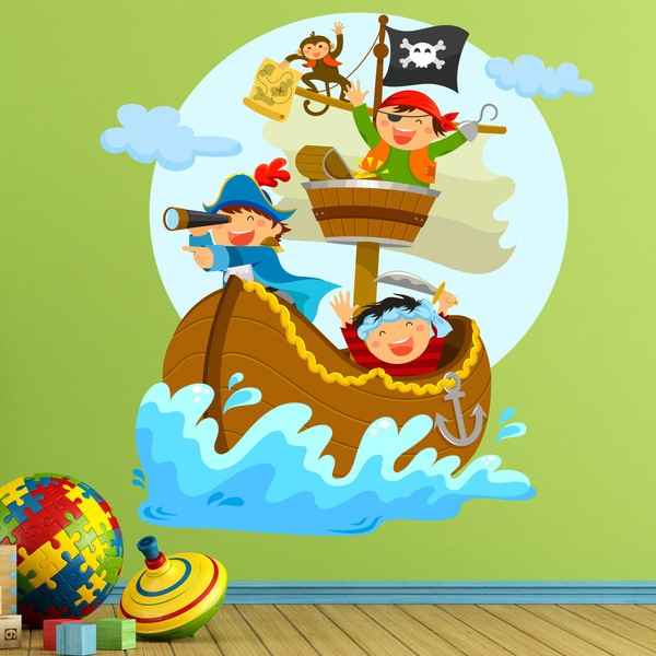Stickers for Kids: Pirates sailing on his boat