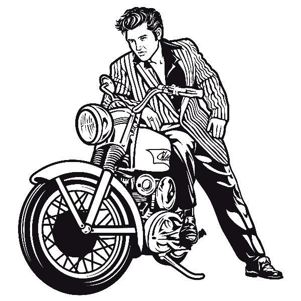 Wall Decal Elvis Presley And Motorcycle Muraldecal Com