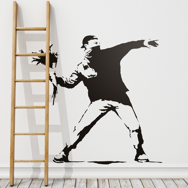 Wall Stickers: Banksy Flower Throwing Protest