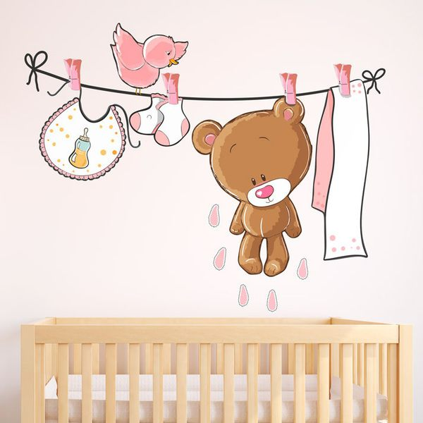 Stickers for Kids: Bear on the clothesline pink