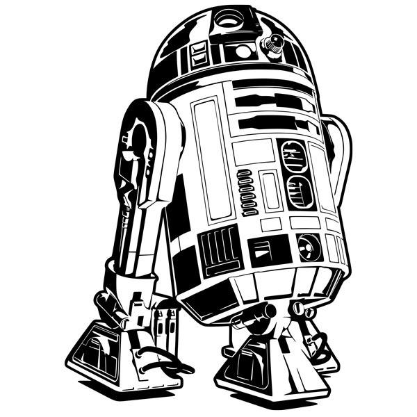 R2d2 Black And White Star Wars wall sticker...