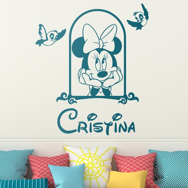 Stickers for Kids: Minnie Mouse in the window and birds