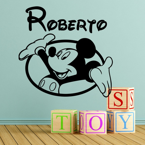 Stickers for Kids: Mickey Mouse window and name