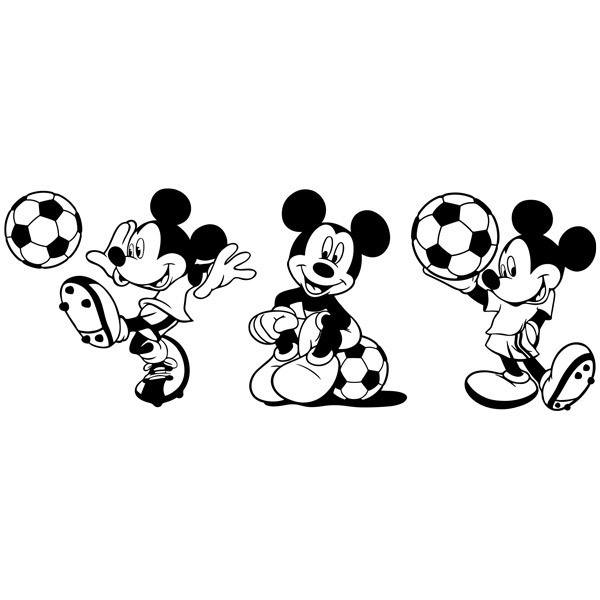 Stickers for Kids: Triptych Mickey Mouse Footballer