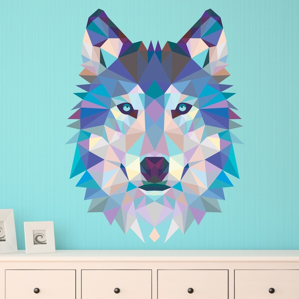 Wall Stickers: Wolf head origami