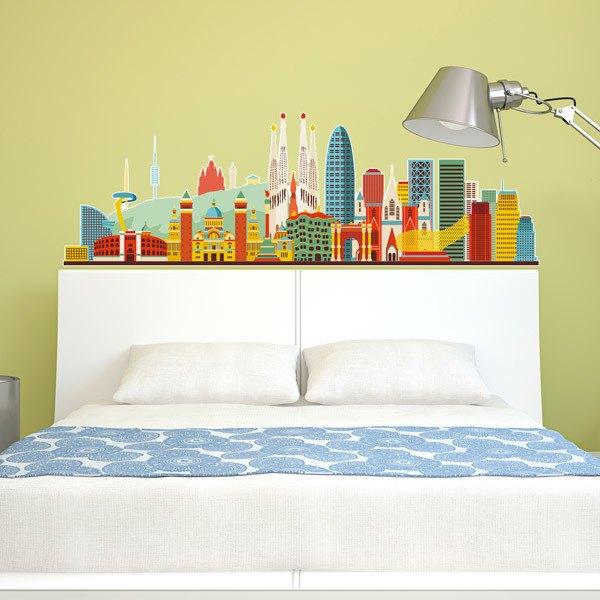 Wall Stickers: Barcelona skyline watercolor