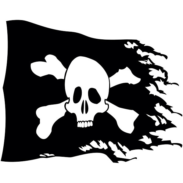 Stickers for Kids: Pirate flag worn