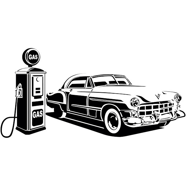 Wall Stickers: American car at gas station