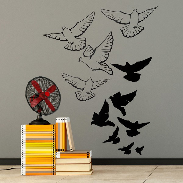Wall Stickers: Flock of pigeons