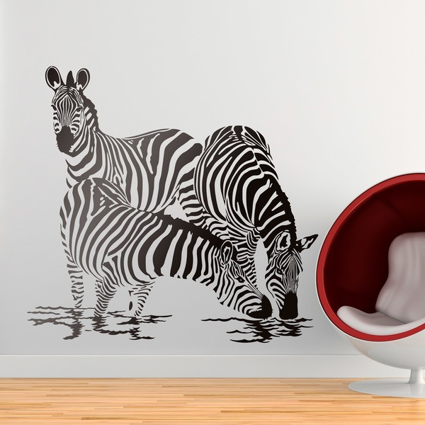 Wall Stickers: Zebras in the river 0