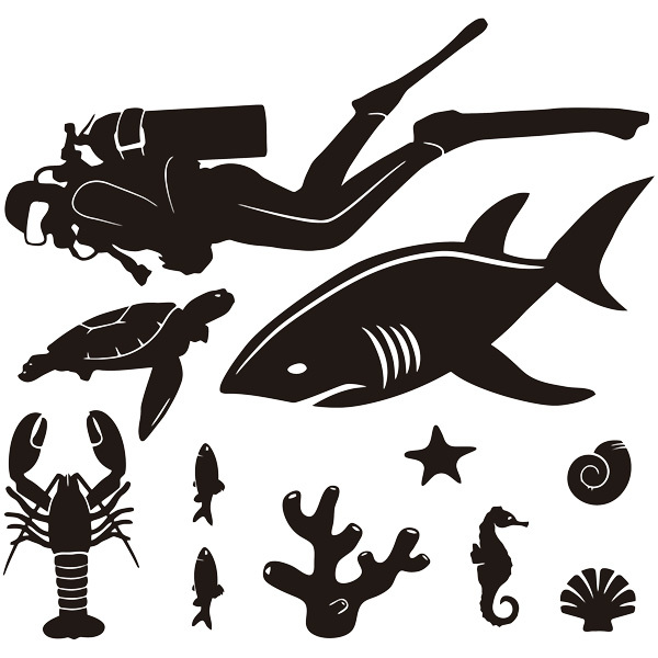 Stickers for Kids: Sea bottom scuba diver kit