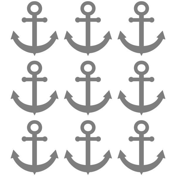Wall Stickers: Kit 9 stickers Anchor fishing