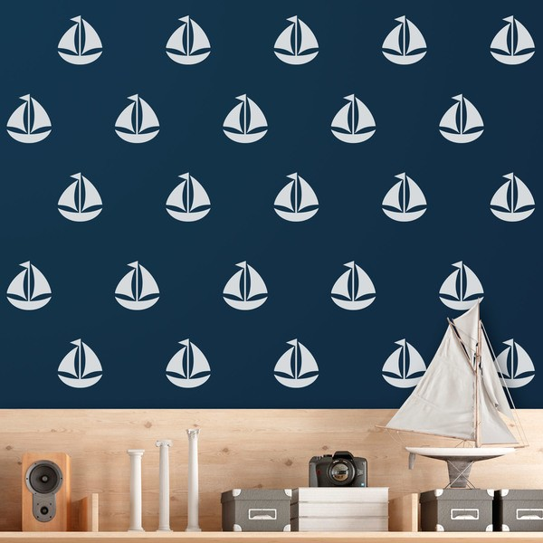 Wall Stickers: Kit 9 stickers Sailing ship