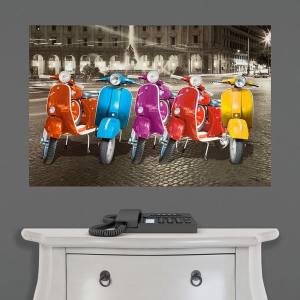Wall Stickers: Poster adhesive 5 Vespas in Rome