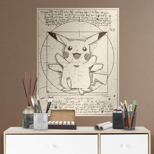 Wall Stickers: Adhesive poster Pikachu Vitruvio