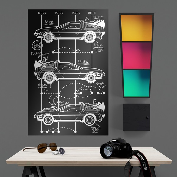 Wall Stickers: Adhesive poster DeLorean Timeline