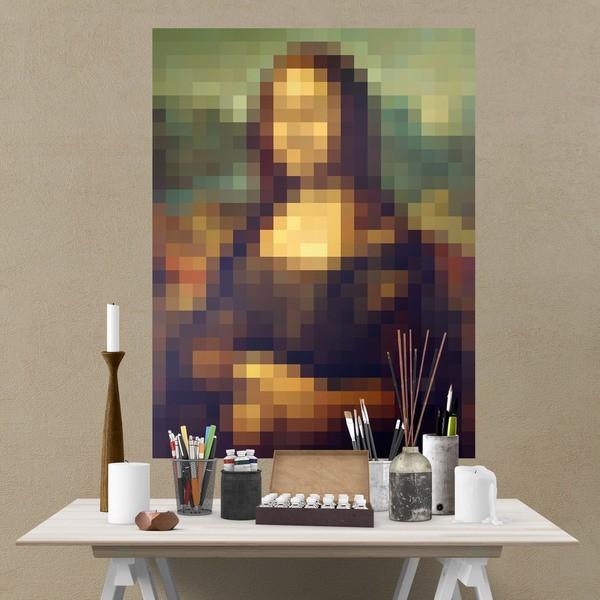 Wall Stickers: Adhesive poster Mona Lisa Gioconda Pixel