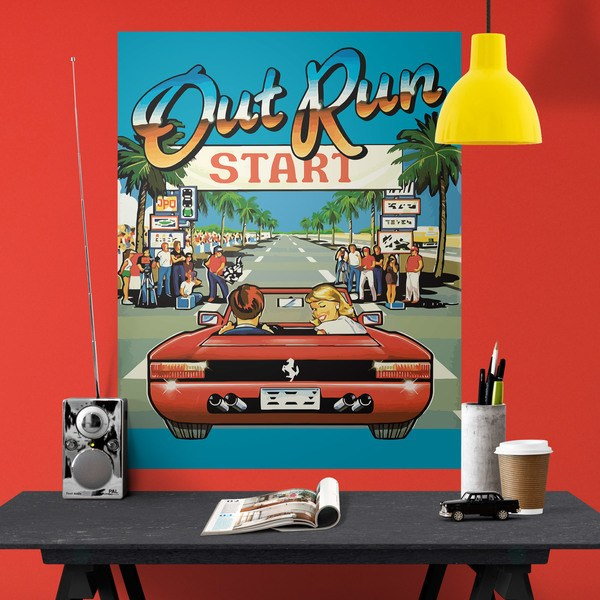 Wall Stickers: Adhesive poster Out Run Arcade