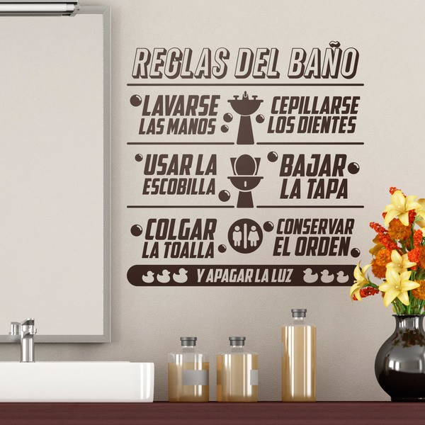 Wall Stickers: Bathroom rules in spanish