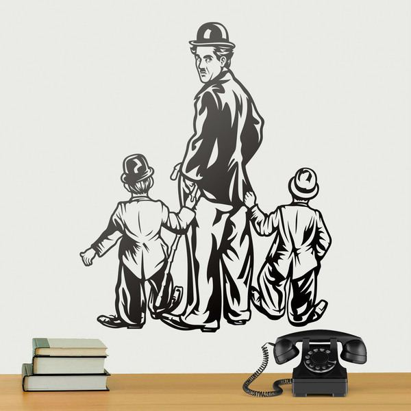 Wall Stickers: Charles Chaplin with two children
