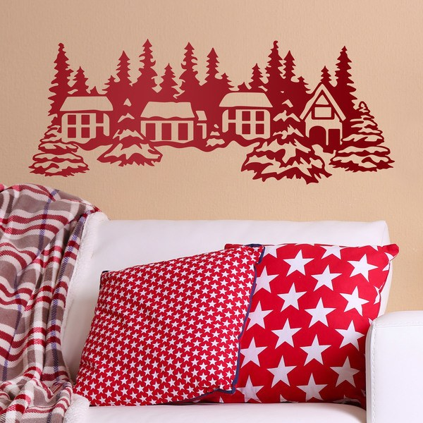 Wall Stickers: Landscape houses and trees with snow