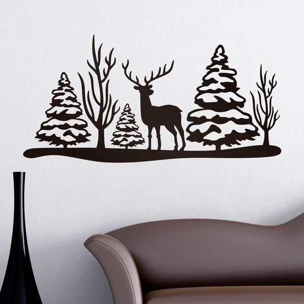 Wall Stickers: Christmas landscape of deer and trees