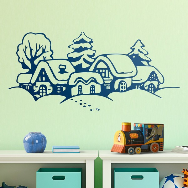 Wall Stickers: Christmas landscape snowy houses