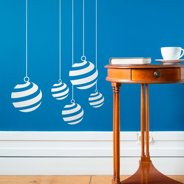 Wall Stickers: Christmas balls with spirals