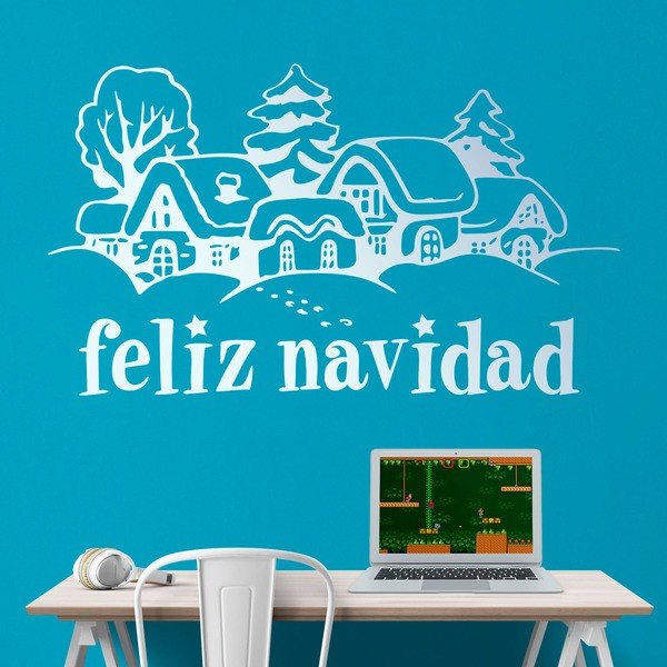 Wall Stickers: Snowy houses and Merry Christmas 2