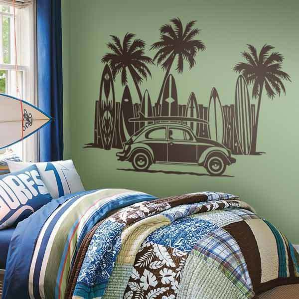 Wall Stickers: Volkswagen, surfboards and palm trees