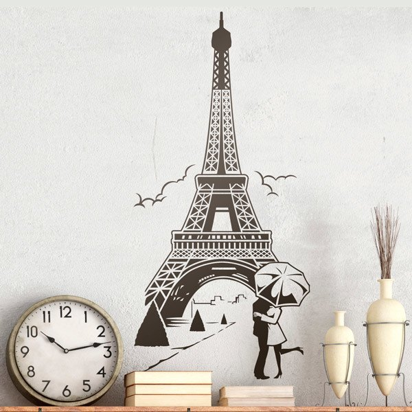 Wall Stickers: Lovers under the Eiffel Tower