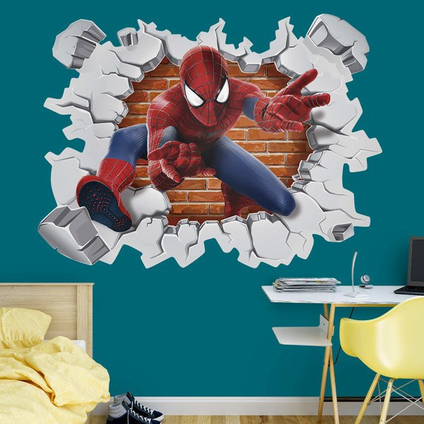 Wall hole spiderman for Sticker para pared infantiles