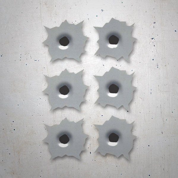 Car and Motorbike Stickers: 6 bullet holes kit