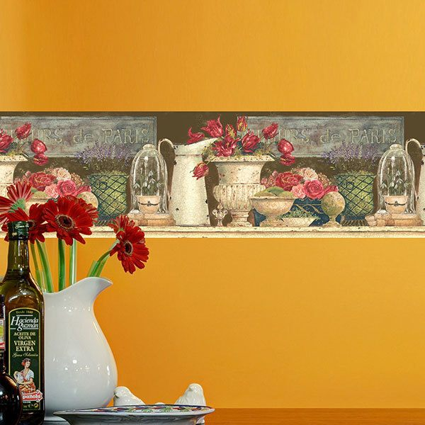 Wall Stickers: Wall border Flowers of Paris