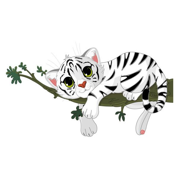 Stickers for Kids: Tiger cub on a branch
