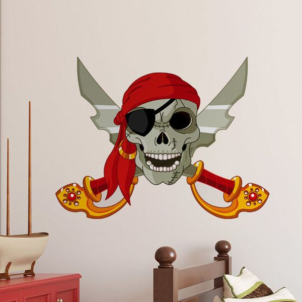 Stickers for Kids: Skull and crossed swords