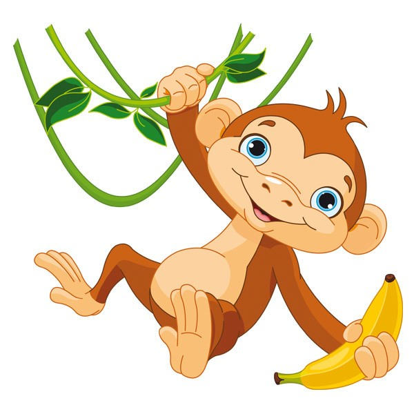 Stickers for Kids: Monkey with banana on the branch