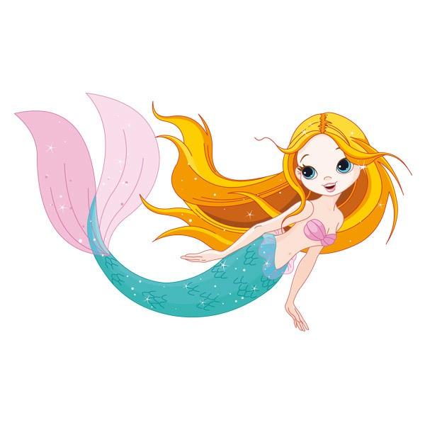 Stickers for Kids: Mermaid swimming