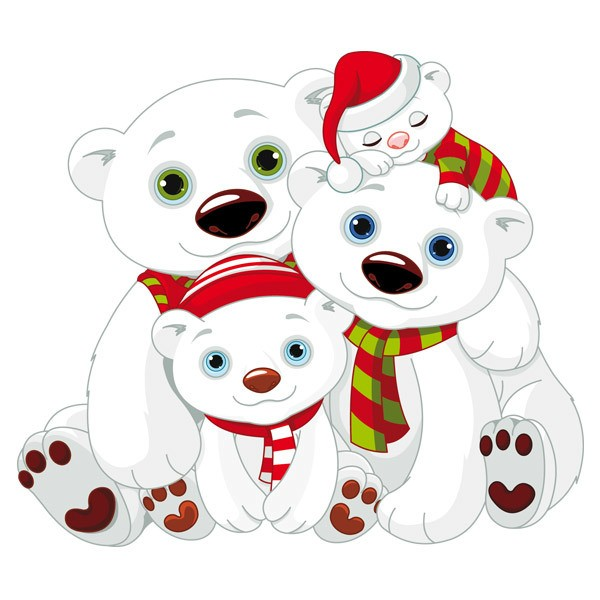 Stickers for Kids: White bears family