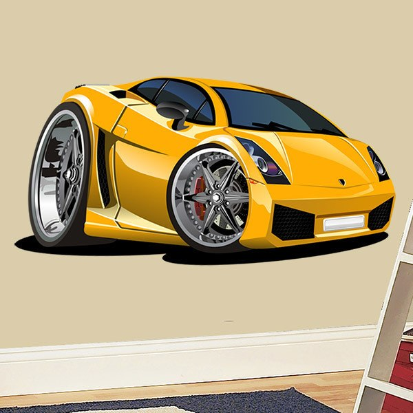 Stickers for Kids: Yellow sports car 2