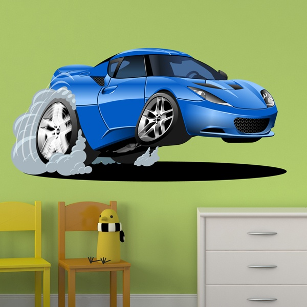 Stickers for Kids: Blue car speeding