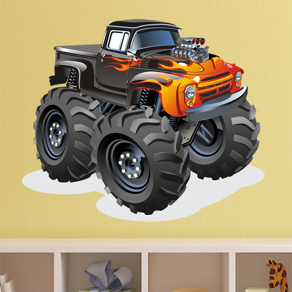 Stickers for Kids: Monster Truck pickup fire