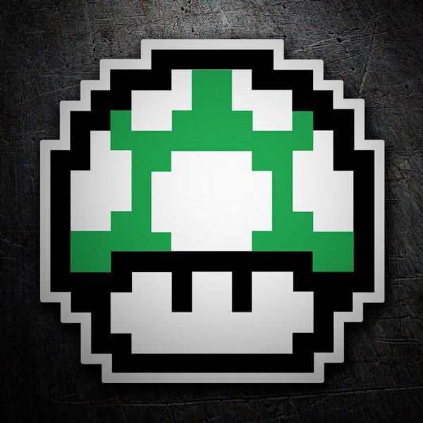Car and Motorbike Stickers: Mario Bros Mushroom Green Pixel