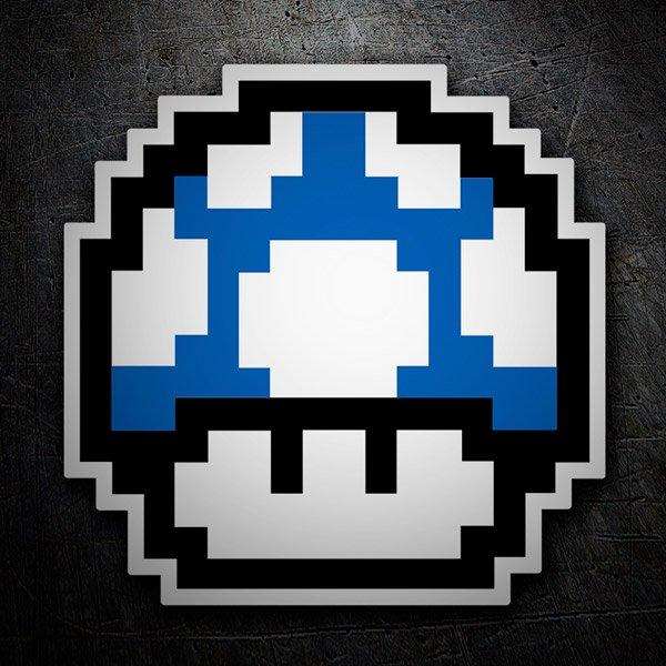 Car and Motorbike Stickers: Mario Bros Mushroom Blue Pixel