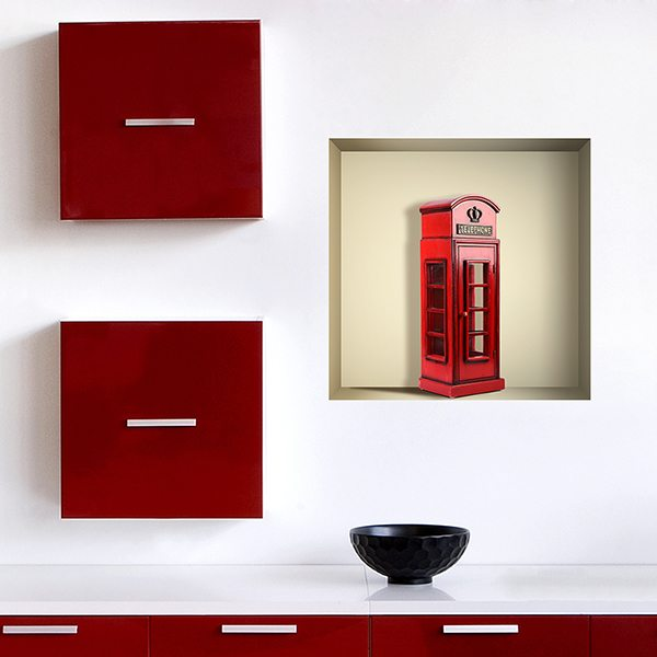 Wall Stickers: Red London phone booth niche